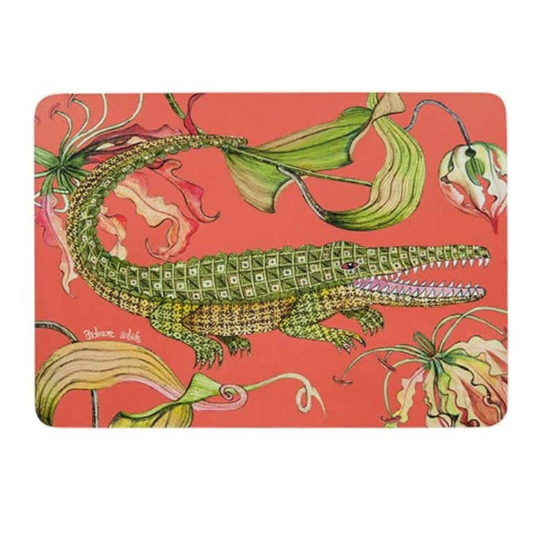 Ngala Trading Flame Lily Crocodile - Coral Placemats (S/2)