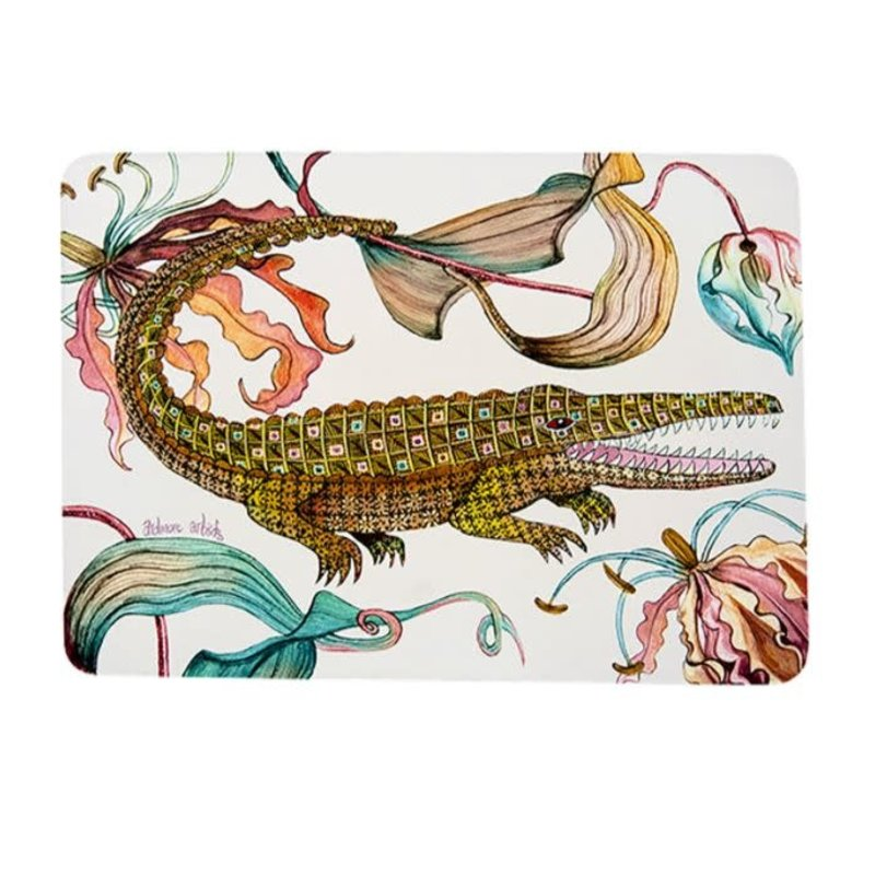 Ngala Trading Flame Lily Crocodile - Sandstone Placemats (S/2)