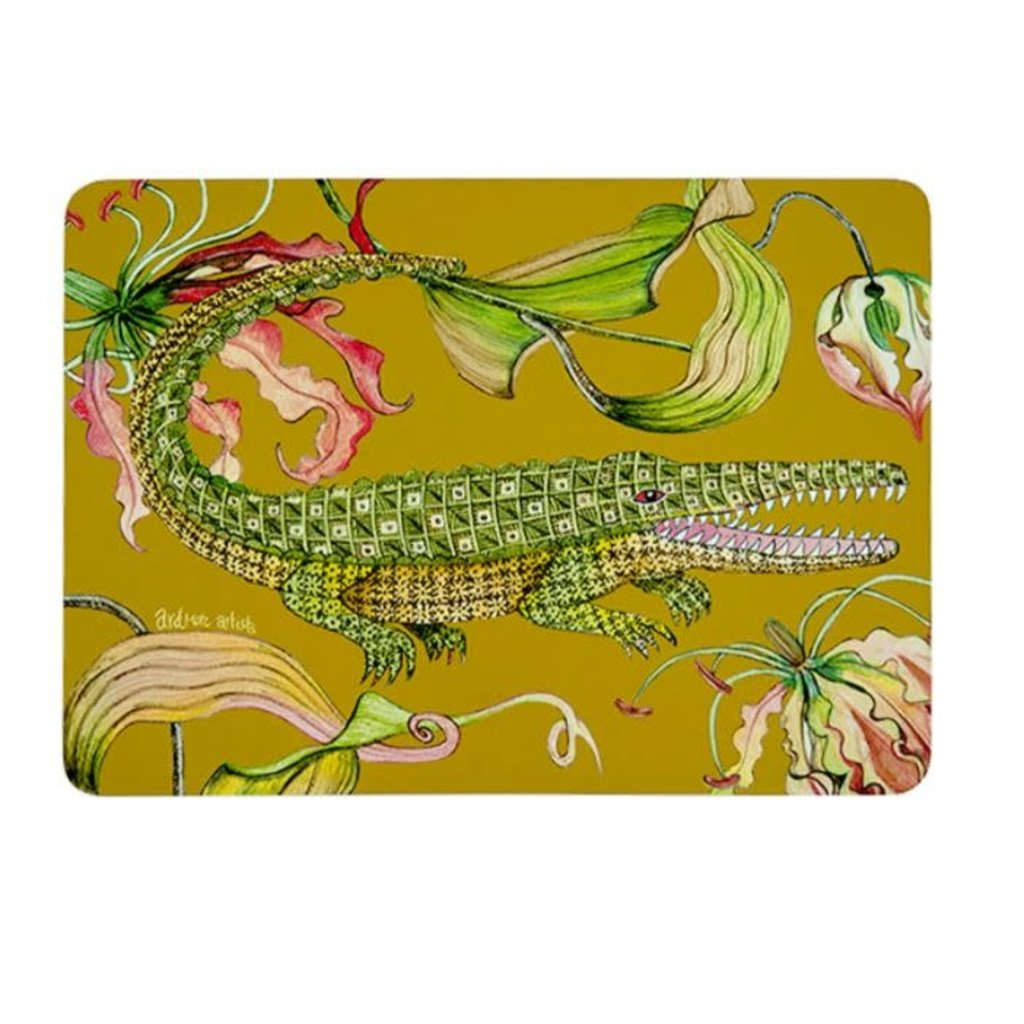Ngala Trading Flame Lily Crocodile - Swamp Placemats (S/2)