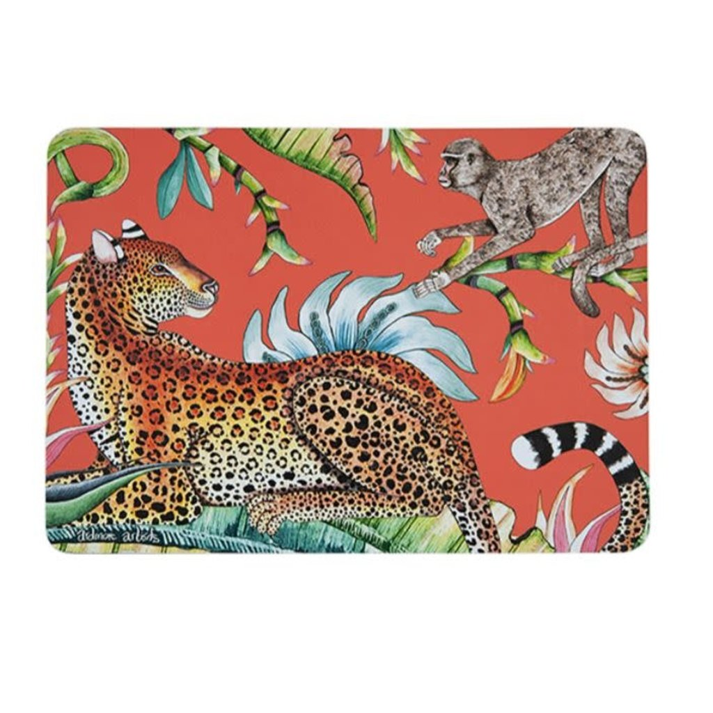 Ngala Trading Flame Lily Monkey Paradise - Coral Placemats (S/2)