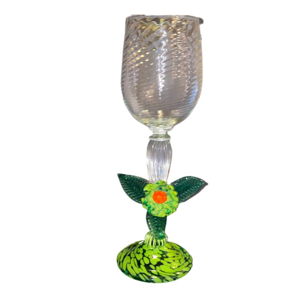 Ridge Walker Glass Green Flower Wine Glass