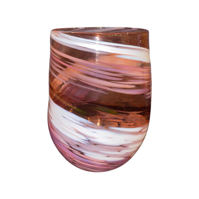 Ridge Walker Glass Stemless Swirl Collection Pink/White