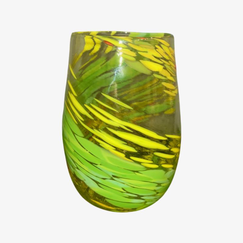 Ridge Walker Glass Stemless Swirl Collection Yellow/Green