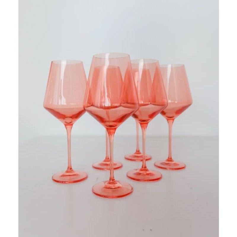 Estelle Estelle Colored Wine Stemware - Set of 6 {Coral Peach Pink}