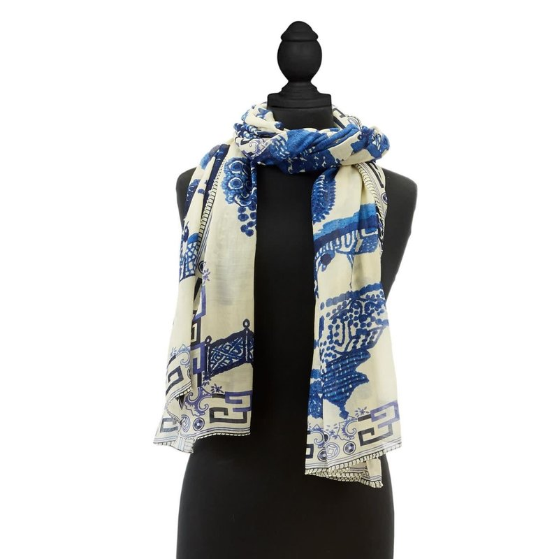 Two's Company Giant Willow Blue Scarf- Viscose/Modal