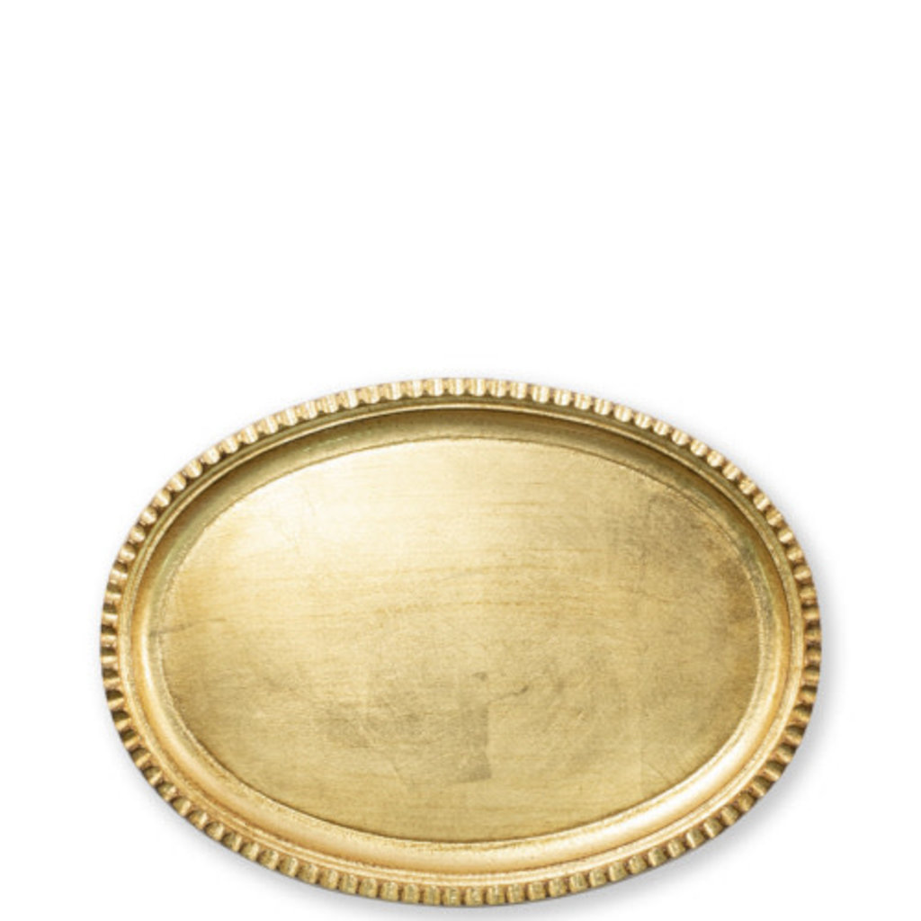 Vietri Florentine Wooden Accessories Gold Small Oval Tray