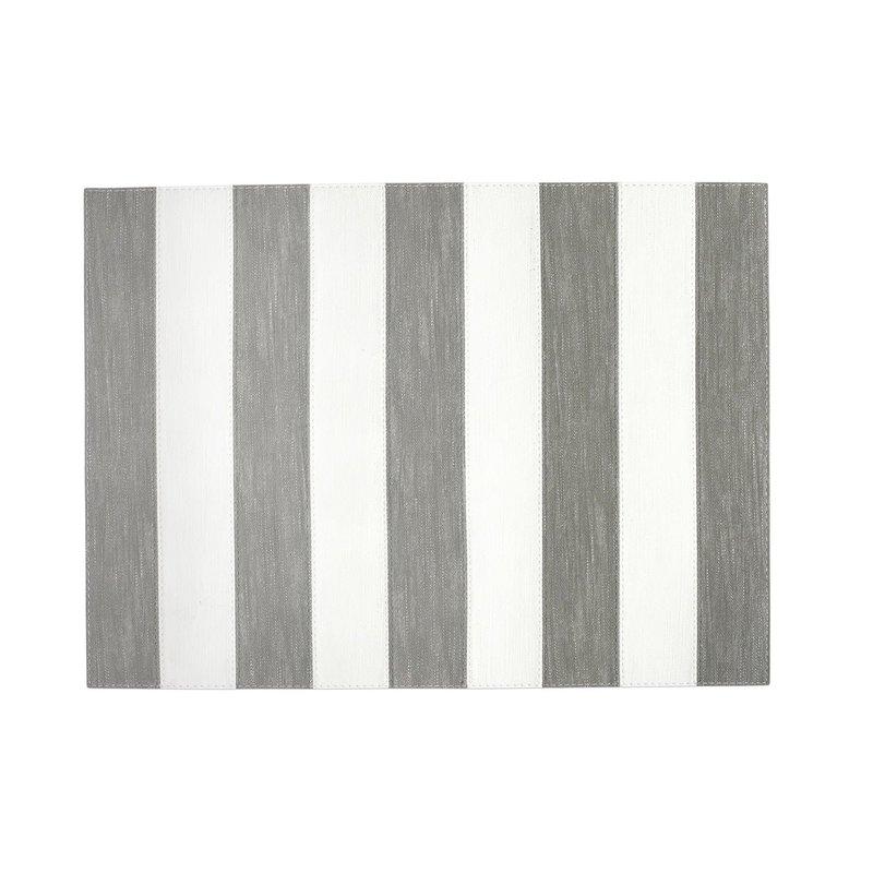 Vietri Reversible Placemats Gray/White Striped Rectangle