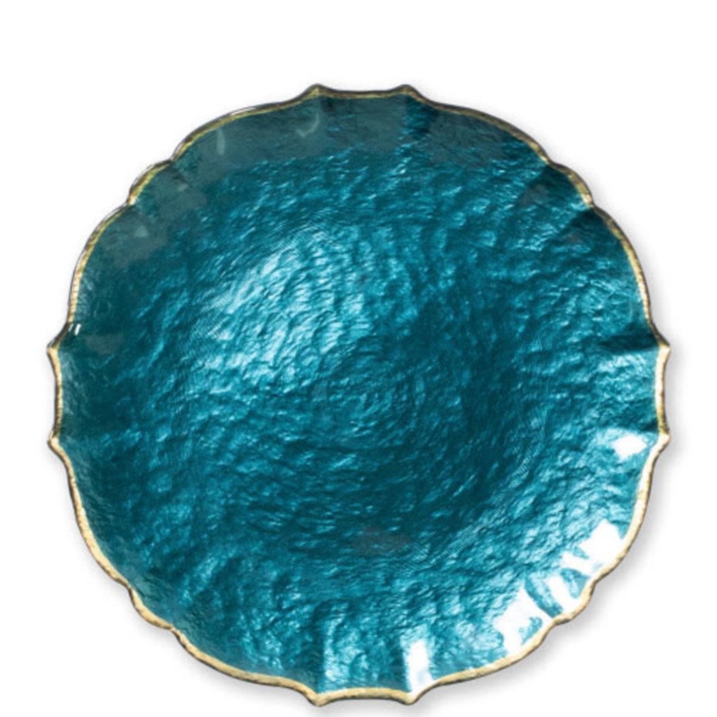 Vietri Baroque Glass Teal Service Plate/Charger