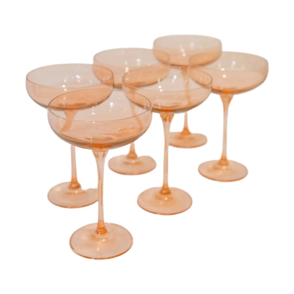 Estelle Estelle Colored Glass Champagne Coupe- Set of 6 (Peach Pink)