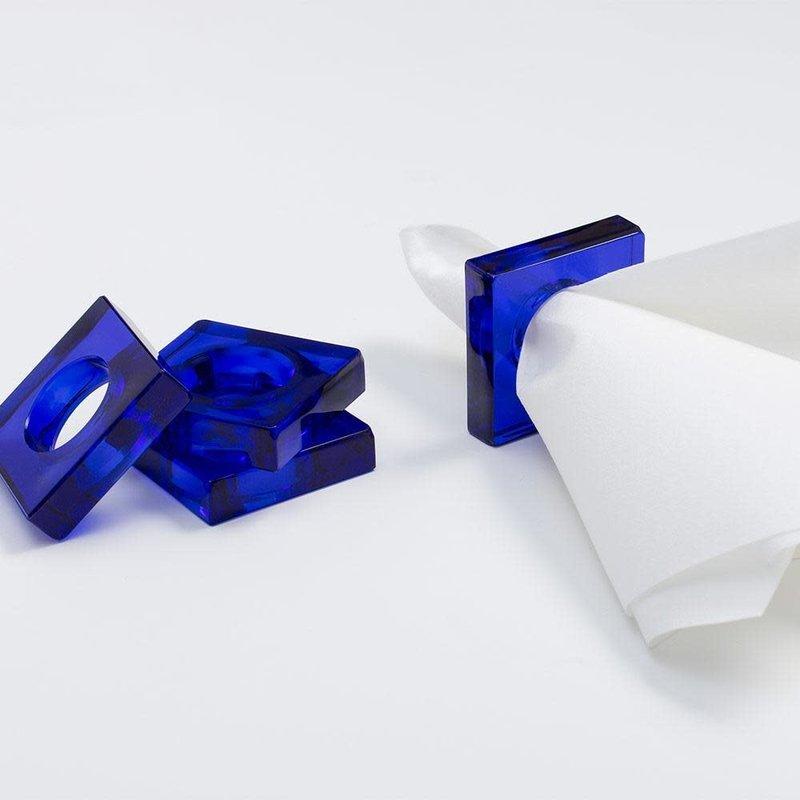Caspari Cobalt Blue Set of 4 Napkin Rings