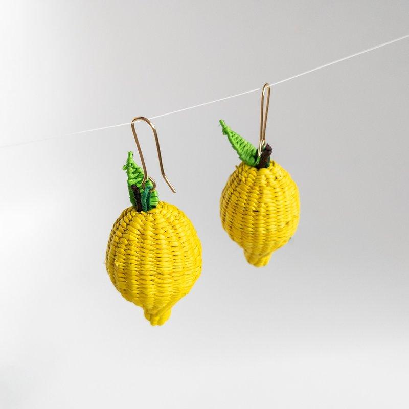 Belart Hand Woven Straw Lemon Earrings