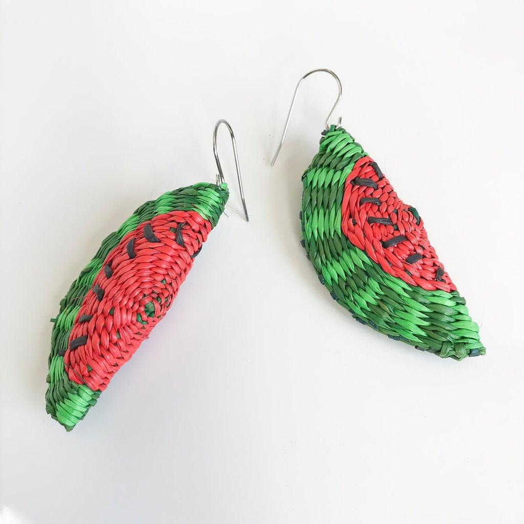 Belart Hand Woven Straw Watermelon Earrings