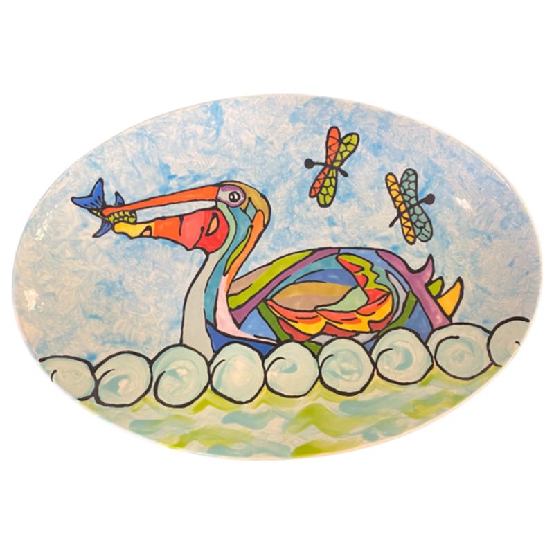 Jan Salzer Pelican Oval Plate