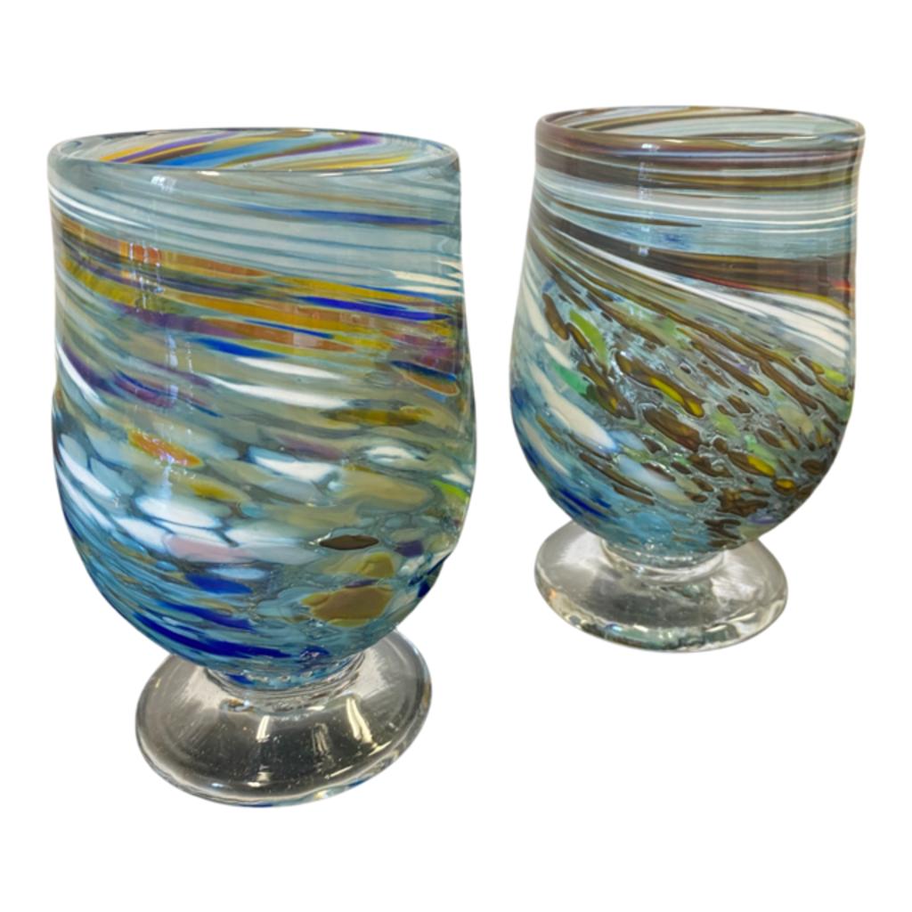 Ridge Walker Glass Blue Swirl Footed Glass