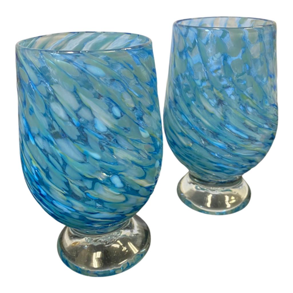Ridge Walker Glass Blue Monochrome Footed Glass