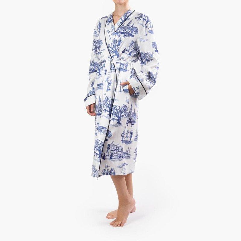 Katie Kime New Orleans Toile Robe Navy