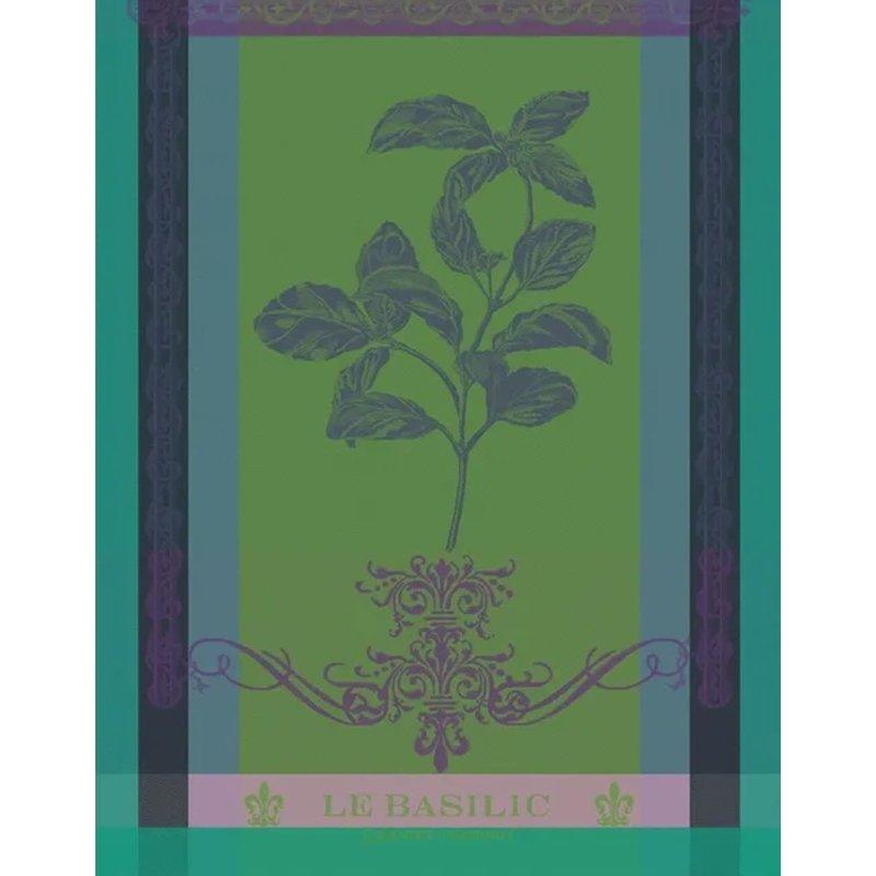 """Garnier Thiebaut Brin De Basilic Vert Kitchen Towel 22""""x30"""", 100% Cotton"""