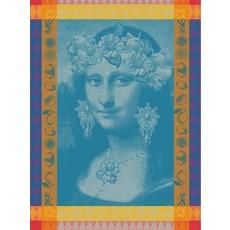 "Garnier Thiebaut Mona Lisa Bleu Kitchen Towel 22""x30"", 100% Cotton"
