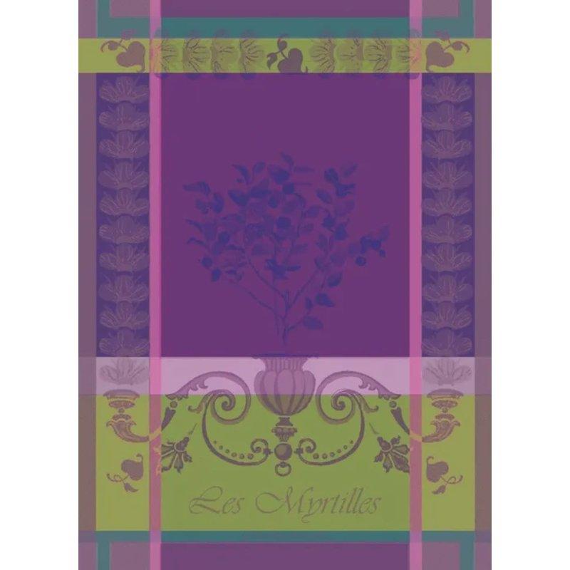 """Garnier Thiebaut Myrtilles Violet Kitchen Towel 22""""x30"""", 100% Cotton"""