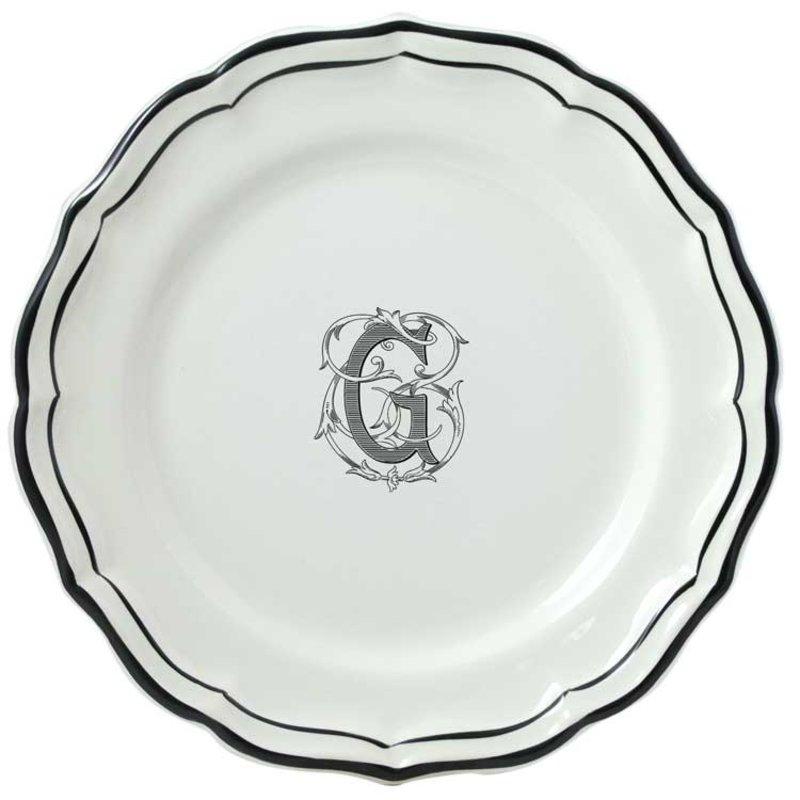 Gien Dessert Plate Filet Midnight/Managnese Monogram (B)