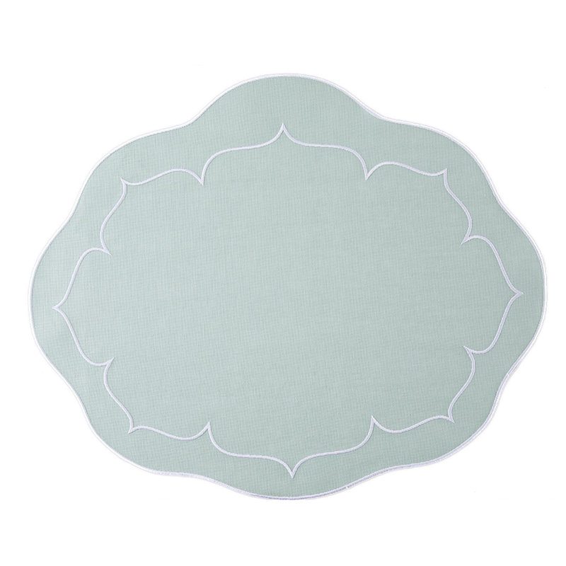 Skyros Designs Linho Scalloped Oval Placemat Ice Blue/White