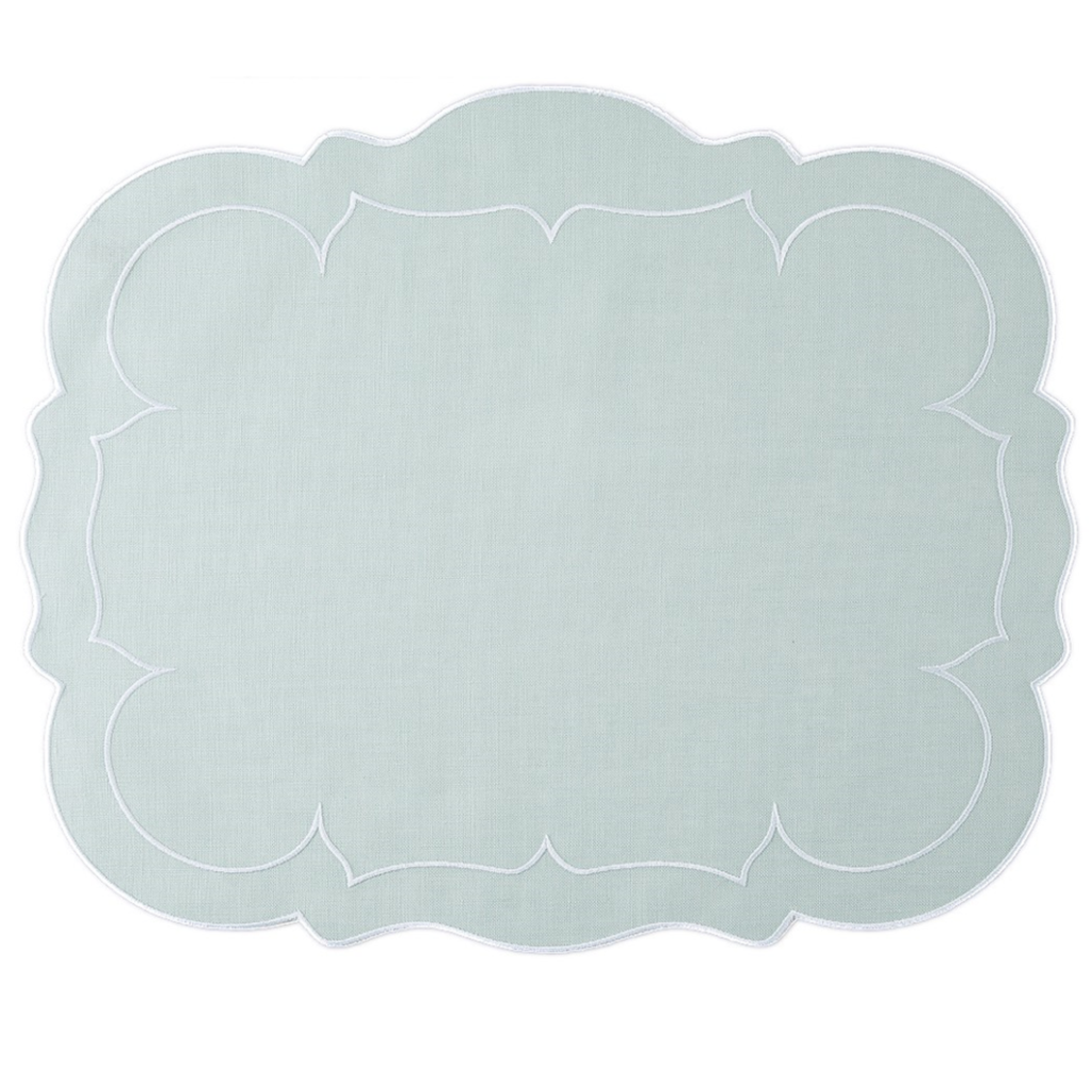 Skyros Designs Linho Scalloped Rectangle Placemat Ice Blue/White