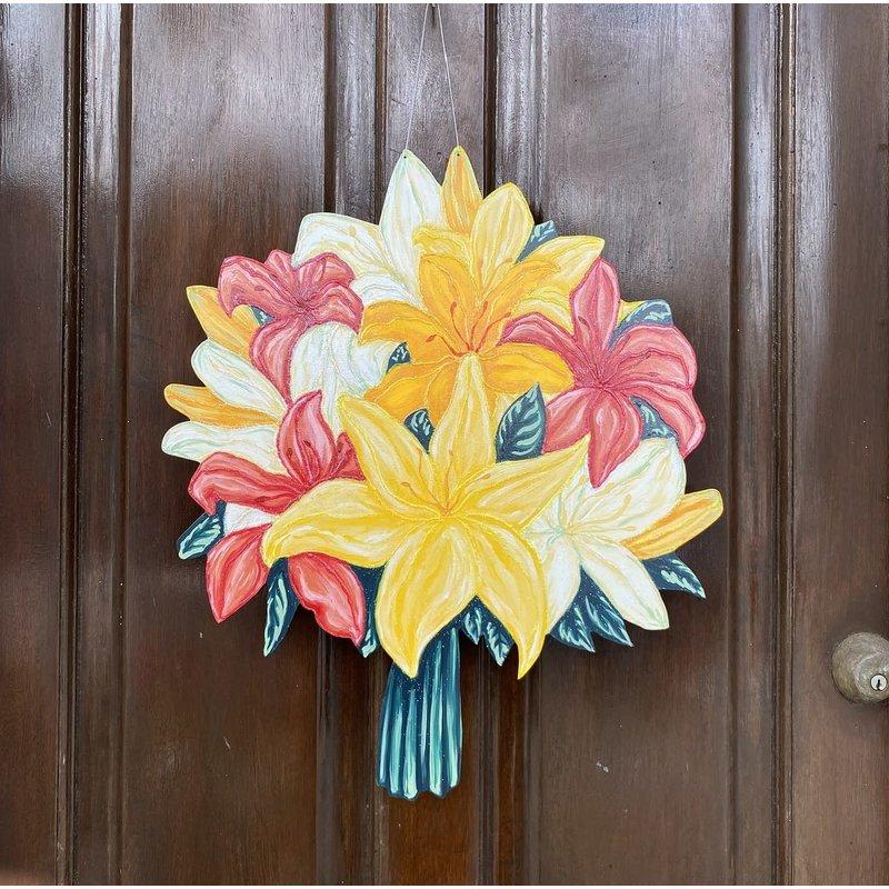 Jolie Designs NOLA Summer Iris Bouquet Door Hanger