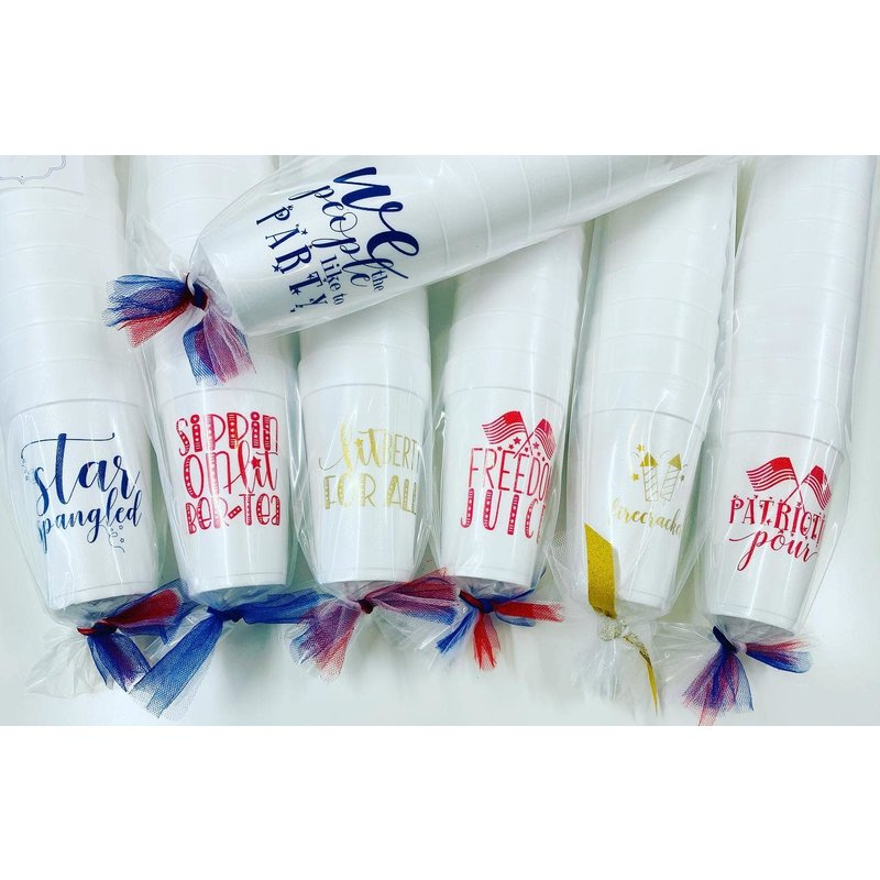 Elle Paperie We the People Like to Party Foam Cups- 20oz Navy Blue Ink