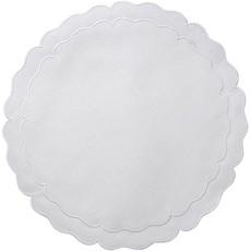Skyros Designs Linho Scalloped Round Placemat White w/ White