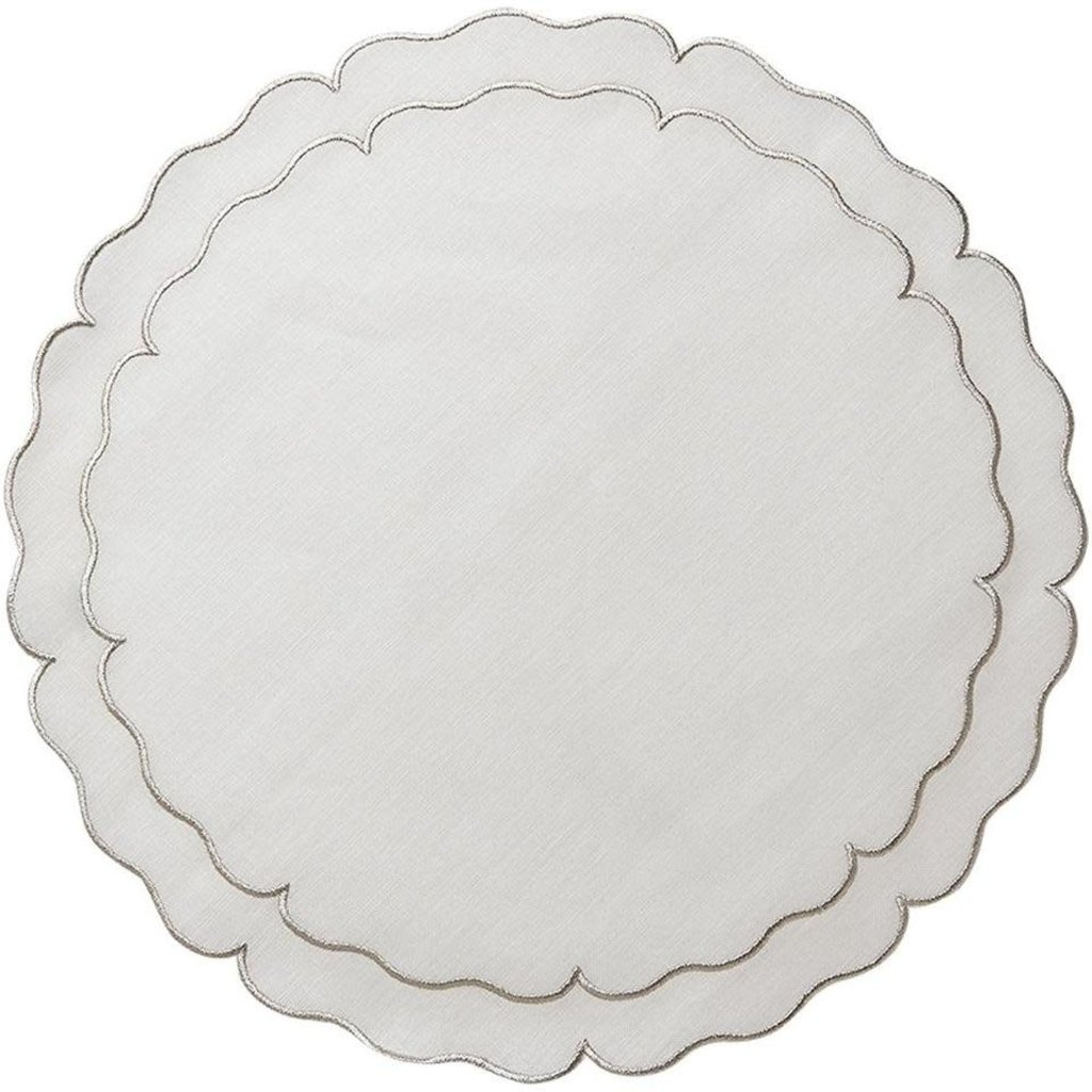 Skyros Designs Linho Scalloped Round Placemat White and Platinum