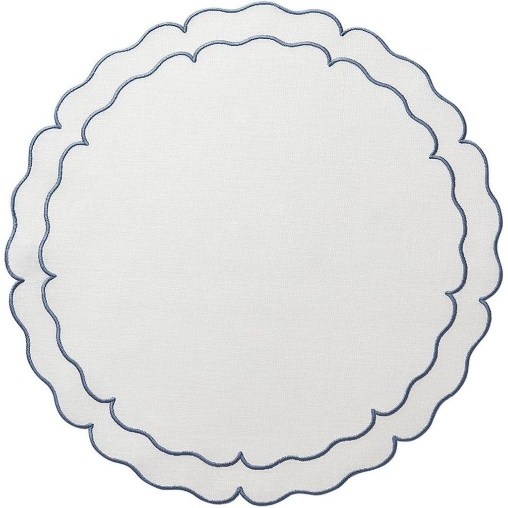 Skyros Designs Linho Scalloped Round Placemat White and Blue