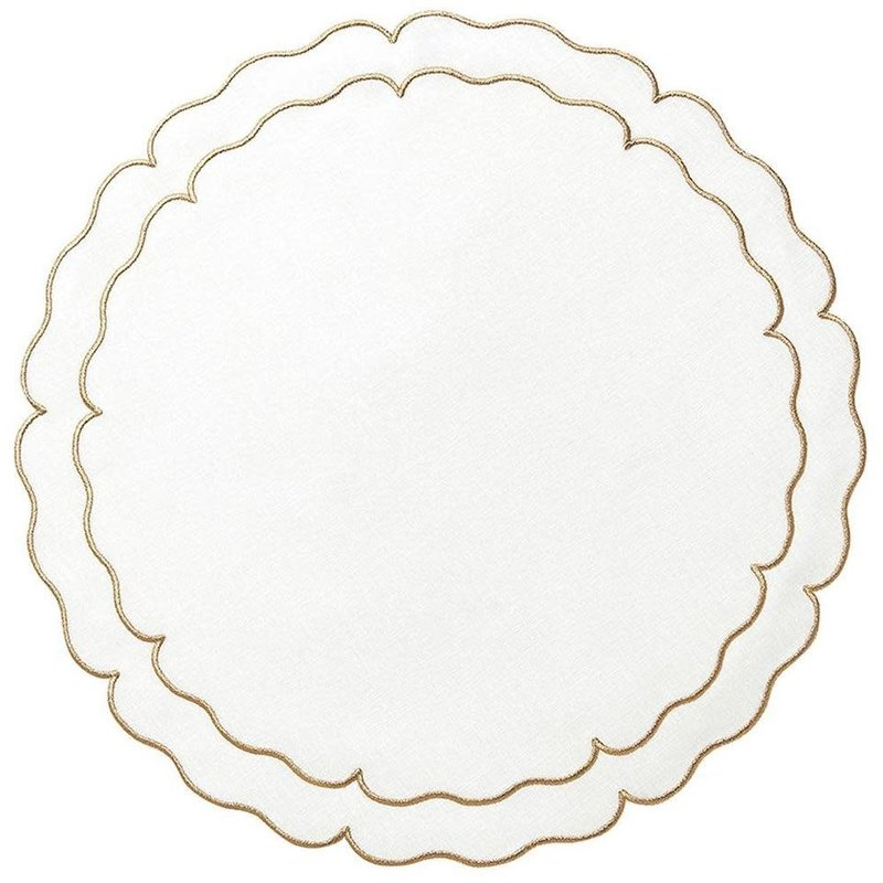 Skyros Designs Linho Scalloped Round Placemat Ivory and Gold