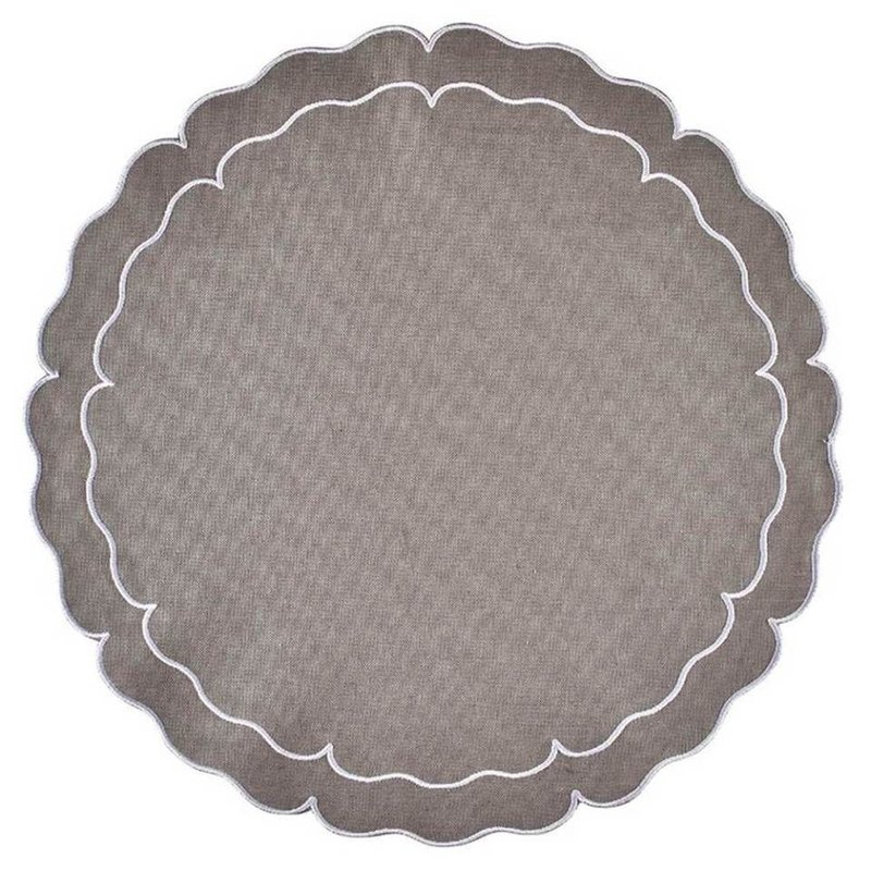 Skyros Designs Linho Scalloped Round Placemat Charcoal and White