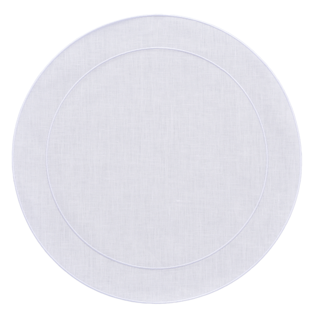 Skyros Designs Linho Simple Round Placemat White with White
