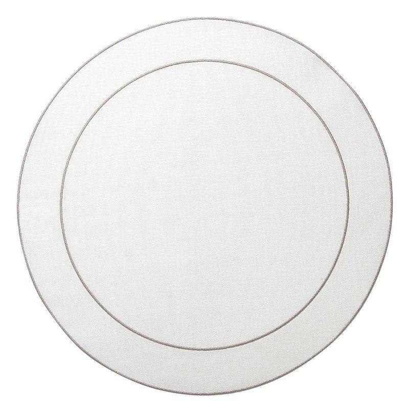 Skyros Designs Linho Simple Round Placemat White with Platinum