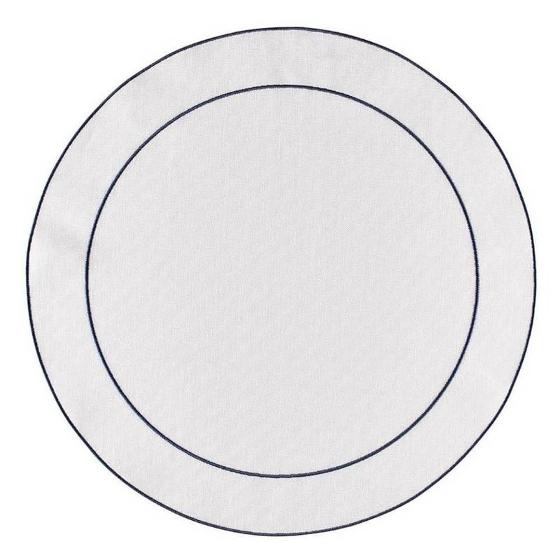 Skyros Designs Linho Simple Round Placemat White with Navy