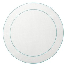 Skyros Designs Linho Simple Round Placemat White with Ice Blue