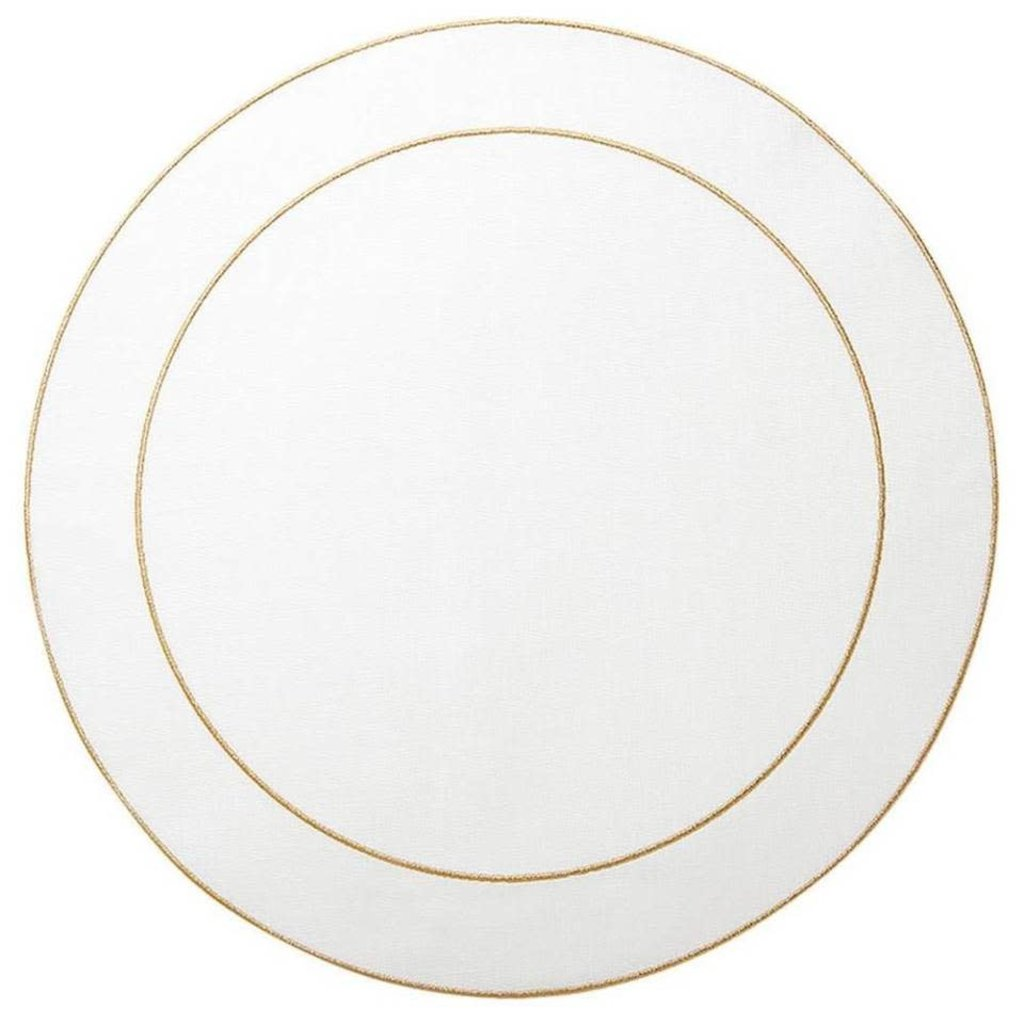 Skyros Designs Linho Simple Round Placemat White with Gold