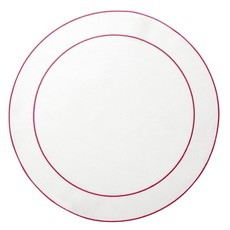 Skyros Designs Linho Simple Round Placemat White with Fuschia
