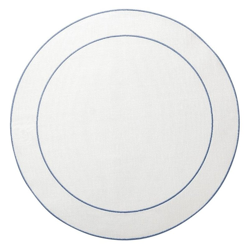 Skyros Designs Linho Simple Round Placemat White with Blue