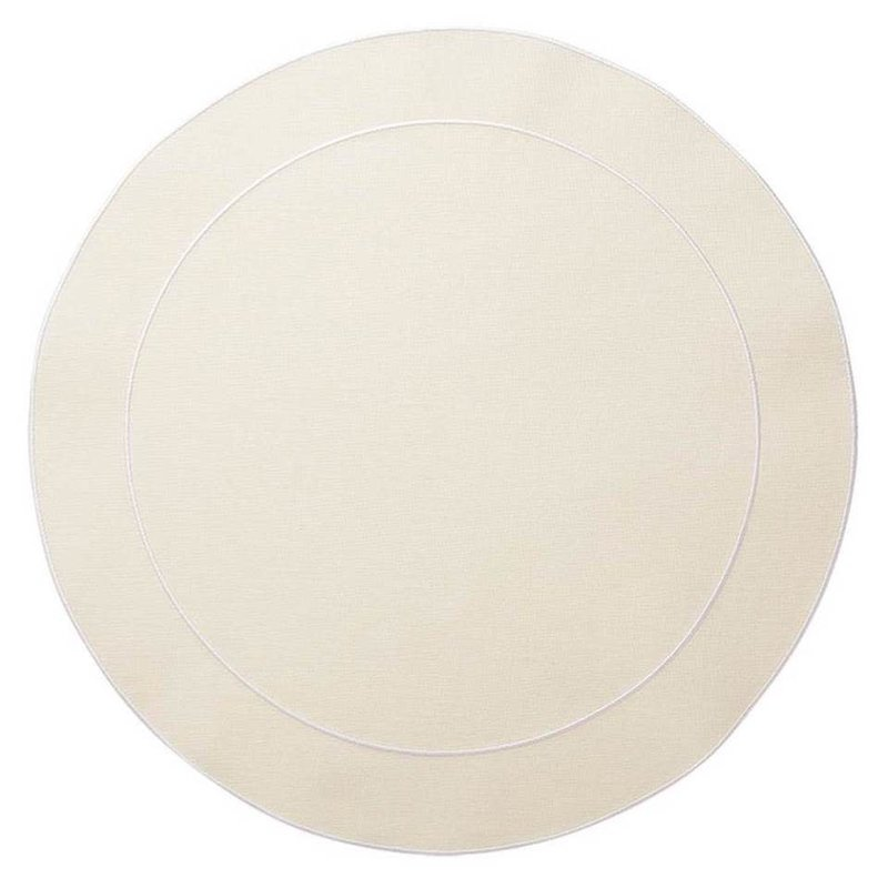Skyros Designs Linho Simple Round Placemat Ivory and White