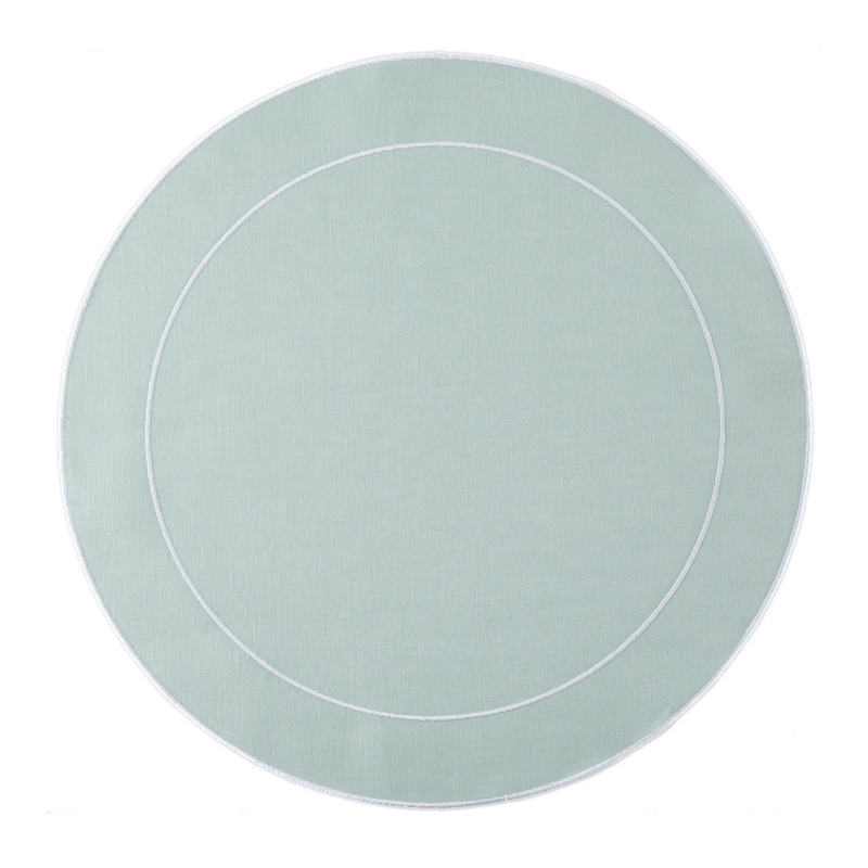 Skyros Designs Linho Simple Round Placemat Ice Blue and White