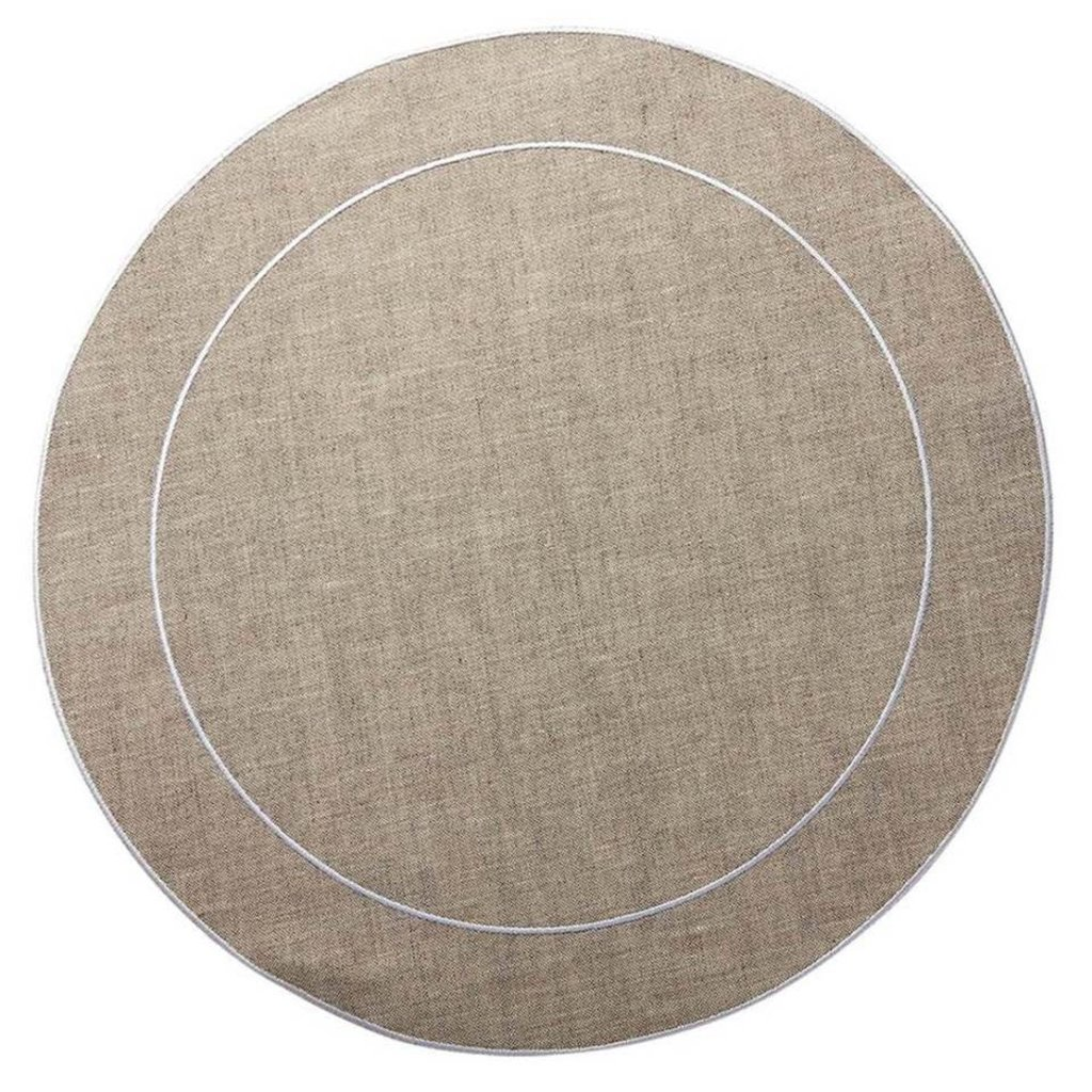Skyros Designs Linho Simple Round Placemat Dark Natural and White