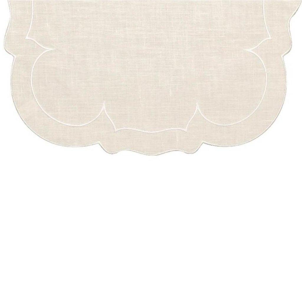 Skyros Designs Linho Linen Runner Ivory and White