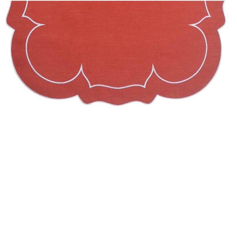 Skyros Designs Linho Linen Runner Brick Red and White