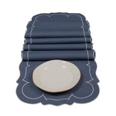 Skyros Designs Linho Linen Runner Blue and White