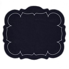 Skyros Designs Linho Scalloped Rectangular Placemat Navy and White
