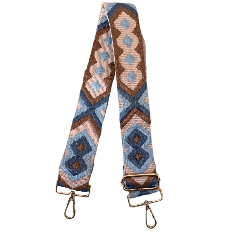 AhDorned Light Blue/Taupe Aztec Purse Strap