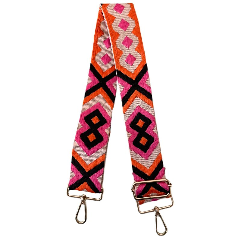 AhDorned Orange/Hot Pink Aztec Purse Strap