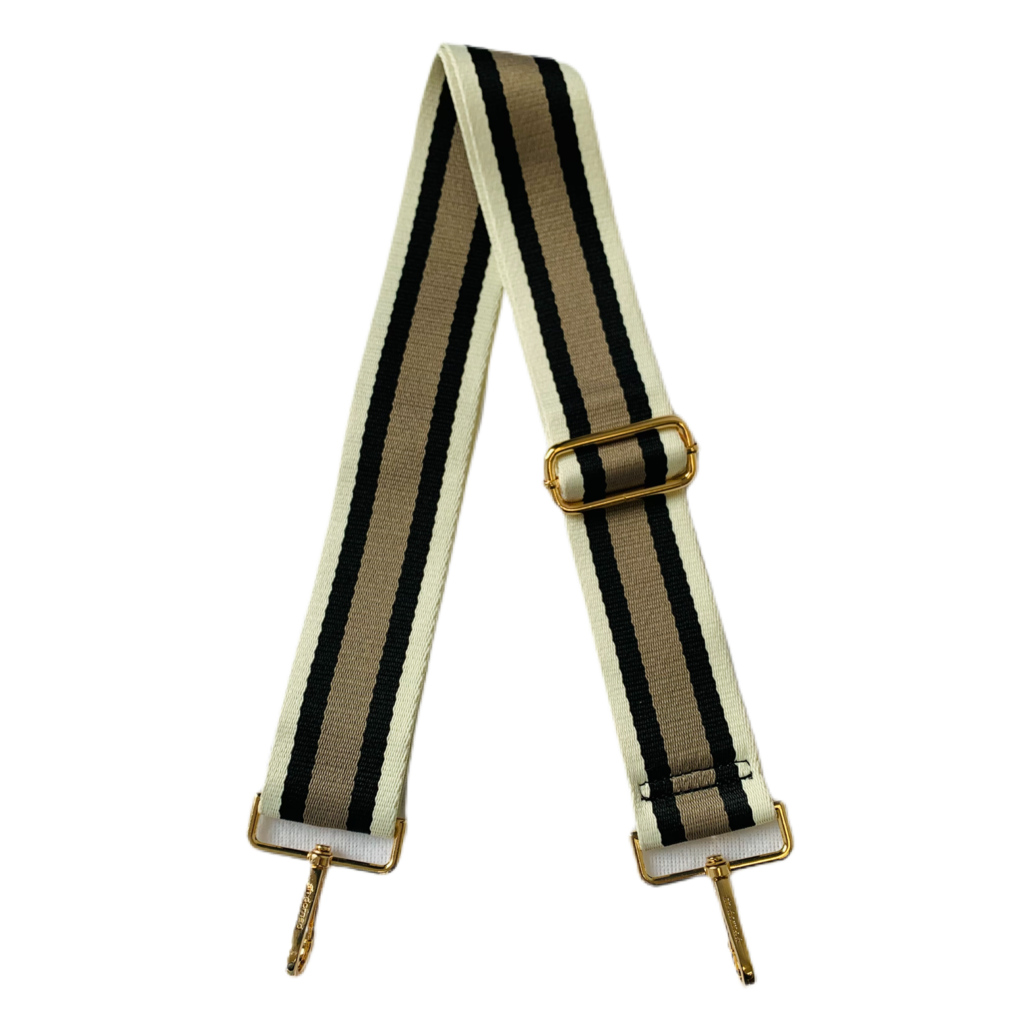 AhDorned Cream Black and Khaki Stripe Purse Strap